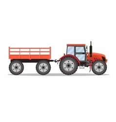 Green tractor with semi-trailer vector