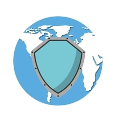 World planet with shield guard icon vector