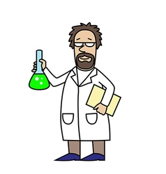 Scientist at work scientist with flask vector