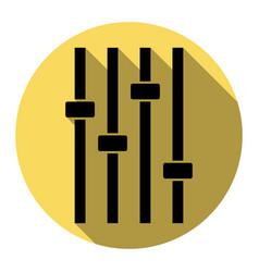 adjustment music line sign  flat black vector image