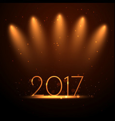 2017 new year background with golden lights vector