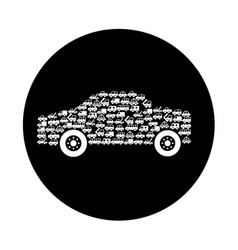 Car vehicle with vehicles silhouette vector