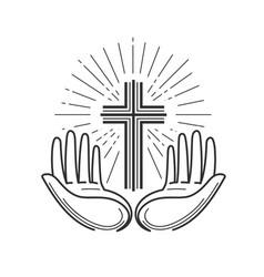 church religion logo bible crucifixion cross vector image