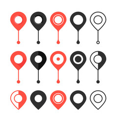 set of red and black map pin vector image