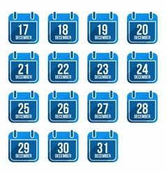 December flat calendar icons with long shadow vector image