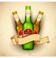 Beer bottle with ribbon vector