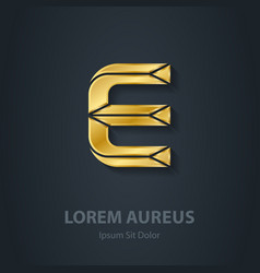 Letter e elegant gold font template for company vector