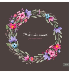 Watercolor wreath with flowersfoliage and branch vector image