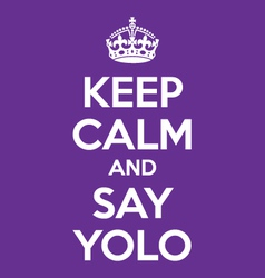 Keep calm and say yolo poster quote vector