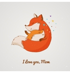 Fox  greetin card mothers day vector