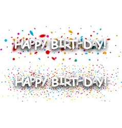 Happy birthday paper banners vector