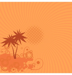 Background with palm trees sun and swirls vector