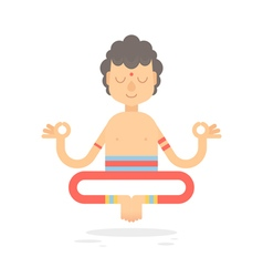 Flat meditating cartoon yogi character vector