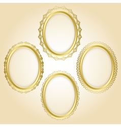 beautiful gold oval frames - set vector image
