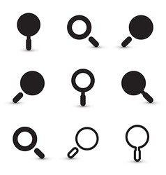 Black Magnifying Glass Square Icons Set vector image vector image