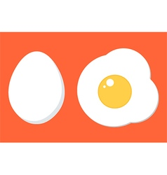 Chicken egg in shell and prepared fried egg vector image