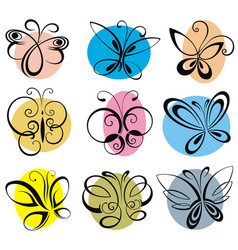Colorful silhouette of butterflies vector