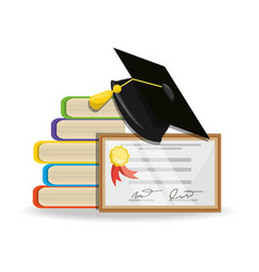 Cute books with diploma and cap graduation vector