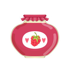 delicious raspberry jam in glass jar with brand vector image