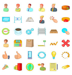 Finance corporation icons set cartoon style vector