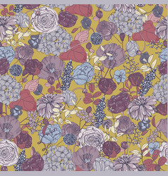 Floral seamless pattern with flowers vintage vector