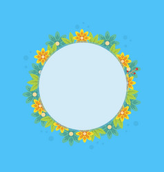 Frame with spring flower on blue background vector