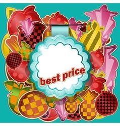 fruit sticker vector image vector image