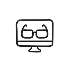 Glasses on computer monitor sketch icon vector