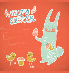 Happy easter red doodle card vector