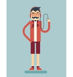 Happy Smiling Adult Man Geek Hipster Character vector image vector image
