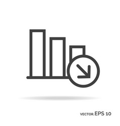 Regression graph outline icon black color vector
