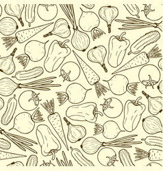 Seamless pattern of vegetables contour vector