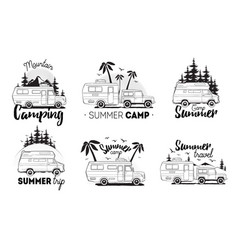 Set of camping trailer logo camper vans against vector