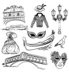 set of venice sketch vector image vector image