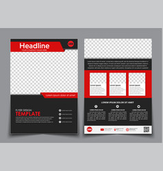 template flyer black with red elements for vector image vector image