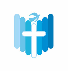 the cross of jesus and the dove symbol vector image