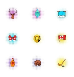 Tourism in Canada icons set pop-art style vector image