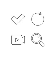 Video camera search and check line icons vector