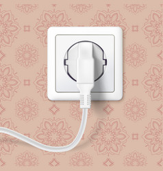 White plug inserted in a wall socket on backdrop vector