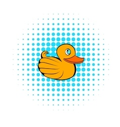 Yellow rubber duck icon comics style vector image