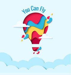 you can fly paper art hot air balloon concept vector image