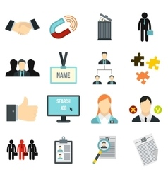 Human resource management icons set flat style vector