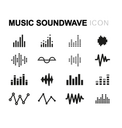 Line music soundwave icons set vector