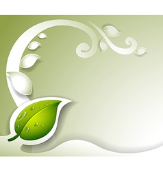 A gray colored stationery with a green leaf vector image