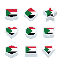 Sudan flags icons and button set nine styles vector