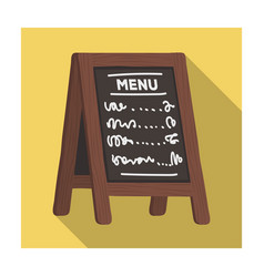 street bar menua sign with the tasty dishes in vector image