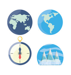 Set global maps with compass and snowy mountains vector