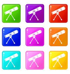 Space telescope set 9 vector