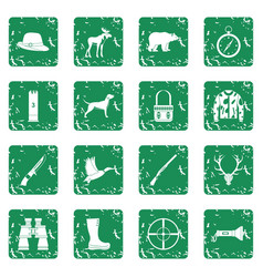 Hunting icons set grunge vector