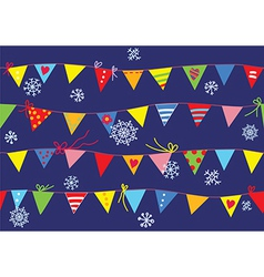 Bunting flags christmas pattern seamless vector